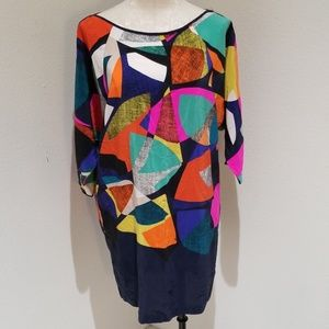 Trina Turk silk abstract colorful dress EUC sz.4